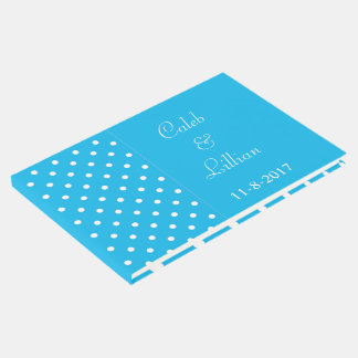 Pool-Party-blaue Polka-Punkt-Schablone Gästebuch