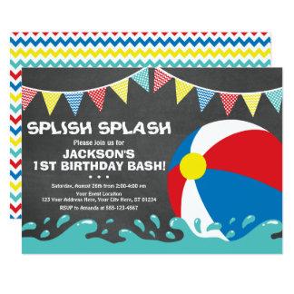 Pool-Party der Wasserball-Geburtstags-Einladungs-| Karte