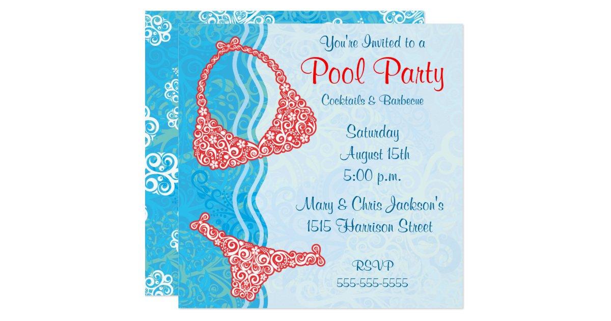 pool party einladung zazzle. Black Bedroom Furniture Sets. Home Design Ideas