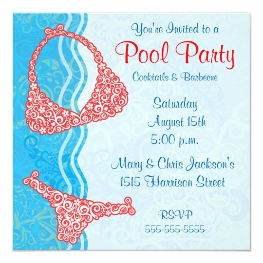 Pool-Party Einladung | Zazzle