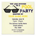 Pool-Party Einladung - schwarze Sonnenbrillen