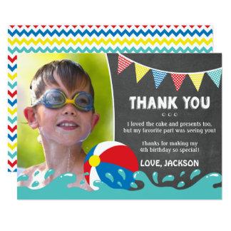 Pool-Party-Geburtstag danken Ihnen, mit Foto zu Karte