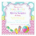 Pool-Party-Geburtstags-Einladung Quadratische 13,3 Cm Einladungskarte