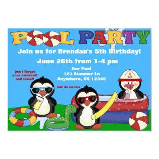 Pool-Party-Kindergeburtstag Einladung