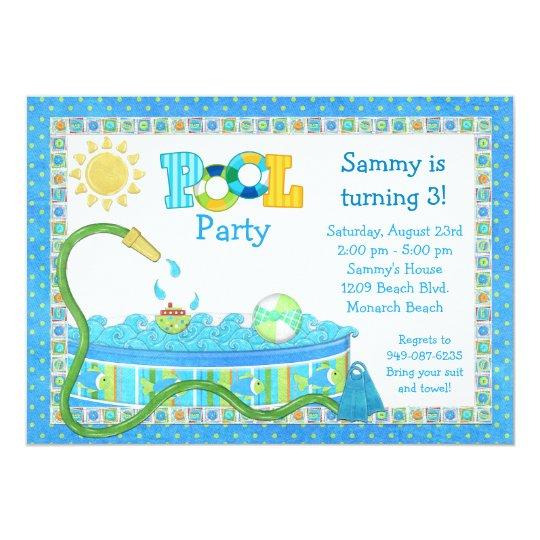 Pool-Party-Kindergeburtstag-Party Einladung | Zazzle