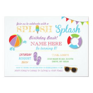Pool-Party-Schwimmen-Geburtstag Splish Spritzen Karte