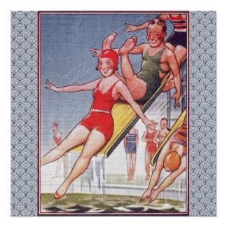 Pool-Party-Vintage Schwimmen Poster