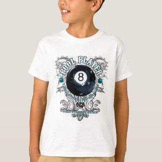 Pool-Spieler mit Filigran geschmücktes 8-Ball T-Shirt