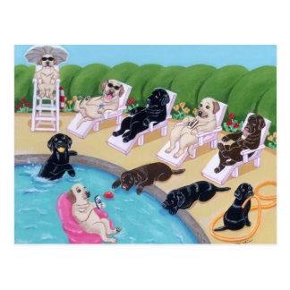 Poolside-Party Labradors Malerei Postkarte