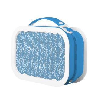 Pop-Blumen-Blätterblau Lunchbox