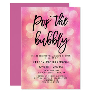 Pop das sprudelnde | rosa Bokeh Blick-Brautparty Karte