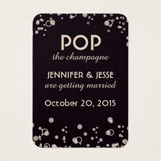 Pop die Champagne - Save the Date Umbau Visitenkarte