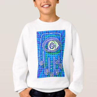 Pop-Kunst-blauer Punkt Hamsa durch Katie Pfeiffer Sweatshirt