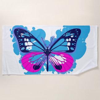 Pop-Kunst-blaues Schmetterlings-Badetuch Strandtuch
