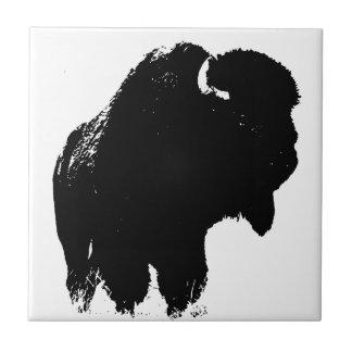 Pop-Kunst-Büffel-Bison-Silhouette Fliese