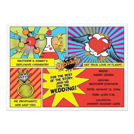 Pop-Kunst-Comic-Buch-Hochzeits-Einladung