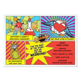 Pop-Kunst-Comic-Buch-Hochzeits-Einladung 12,7 X 17,8 Cm Einladungskarte