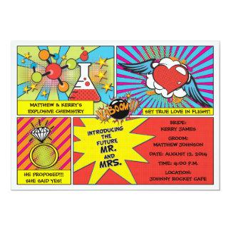 Pop-Kunst-Comic-Buch-Verlobungs-Party Einladung