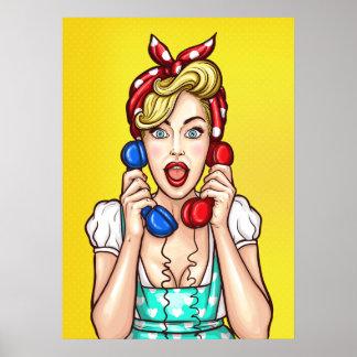 Pop-Kunst-Frau auf dem Plakat mit zwei Telefonen