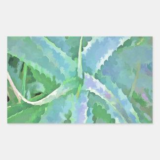 Pop-Kunst-graue grüne Aloe Rechteckiger Aufkleber
