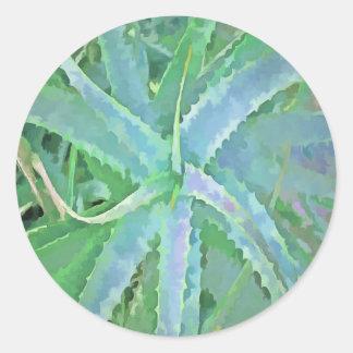 Pop-Kunst-graue grüne Aloe Runder Aufkleber