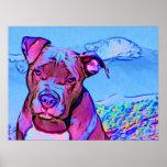 Pop-Kunst-Gruben-Stier-Welpen-Hund Poster