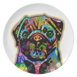 Pop-Kunst-Haustier-Mops-bunte Kunst Retro Party Teller