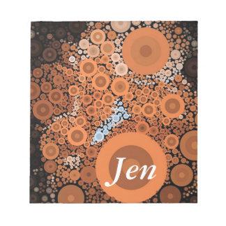 Pop-Kunst-konzentrische Kreis-orange mit Notizblock
