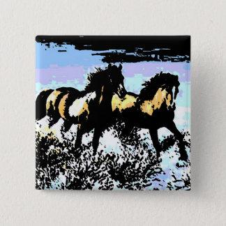 Pop-Kunst-laufende Pferde Quadratischer Button 5,1 Cm