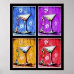 Pop-Kunst-Meerjungfrau-Martinis Posterdrucke