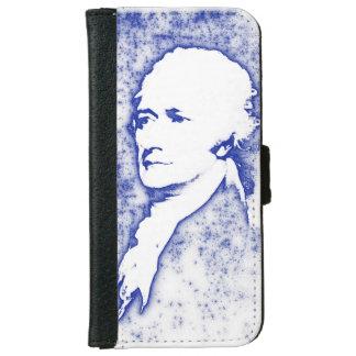 Pop-Kunst-Porträt Alexander Hamilton im Blau iPhone 6/6s Geldbeutel Hülle