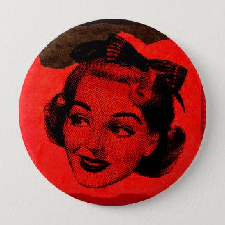 Pop-Kunst-Retro rote Hauptfrauen-runder Knopf Runder Button 10,2 Cm
