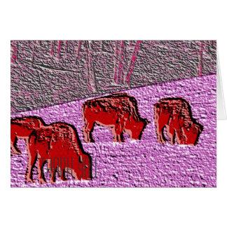 Pop-Kunst-Rosa-Büffel Karte
