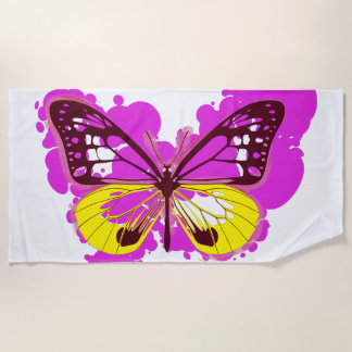 Pop-Kunst-Rosa-Schmetterlings-Badetuch Strandtuch