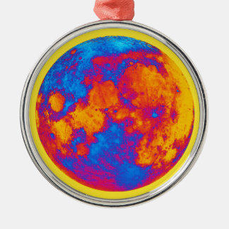 Pop-Kunst-Vollmond Rundes Silberfarbenes Ornament