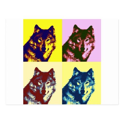 Pop-Kunst-Wolf Postkarte