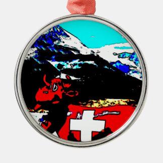 PopArt Switzerland Rundes Silberfarbenes Ornament