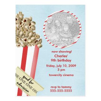 Popcorn-Geburtstags-Party Einladung Postkarte