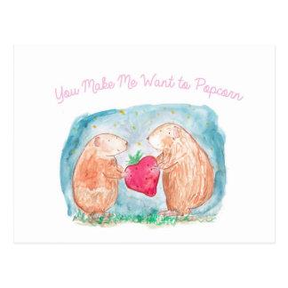 Popcorn-Meerschweinchen beim Liebe-Malen Postkarte