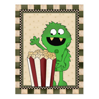 Popcorn-Monster addieren Wortpostkarte Postkarte