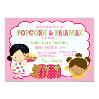 Popcorn-und Pyjamassleepover-Party 12,7 X 17,8 Cm Einladungskarte