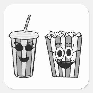 Popcorn und Soda Quadratischer Aufkleber