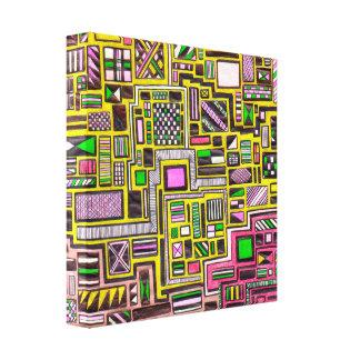 Popkunstpunk des Rosas und des Gelbs geometrisches Gespannte Galerie Drucke