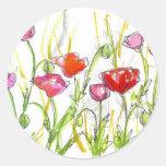 Poppy Flower Fields Summer Wildflower Painting Stickers