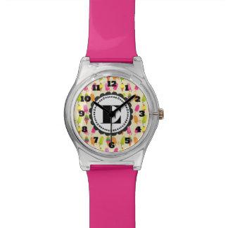 Popsicles und Eiscreme-personalisiertes Monogramm Armbanduhr
