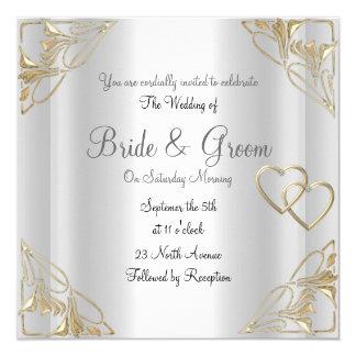 Populäre und elegante silberne Hochzeits-Einladung Quadratische 13,3 Cm Einladungskarte