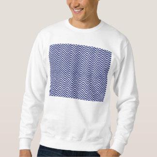 Populärer blauer Zickzack-Zickzack Retro Vintager Sweatshirt