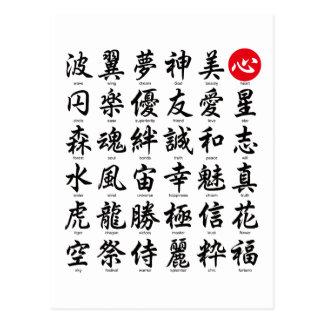 Populäres japanisches Kanji Postkarte