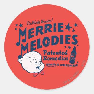 Porky Merrie Melodien behebt 2 Runde Sticker