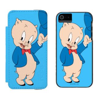 Porky wellenartig bewegender Hut des Schwein-| Incipio Watson™ iPhone 5 Geldbörsen Hülle